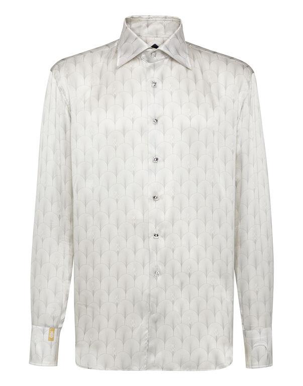 Silk Shirt Silver Cut LS/Flavio Geometric