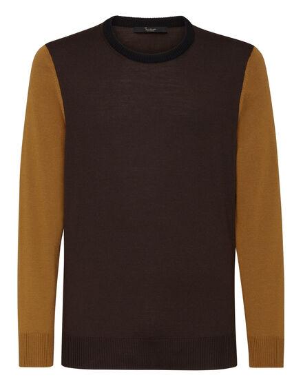 Merino wool Pullover Round Neck LS Color Block