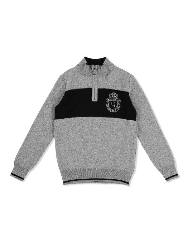 Pullover zip mock Stripes