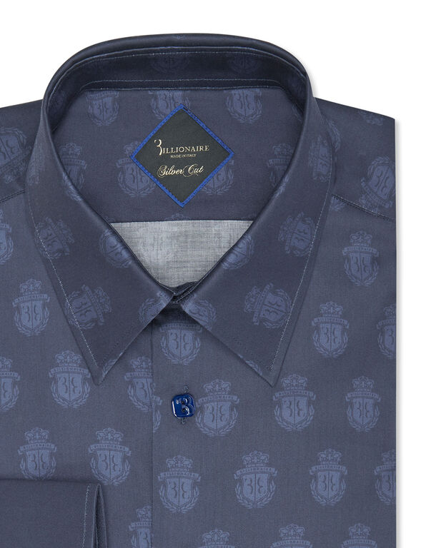 Shirt Silver Cut LS/Milano All over Crest