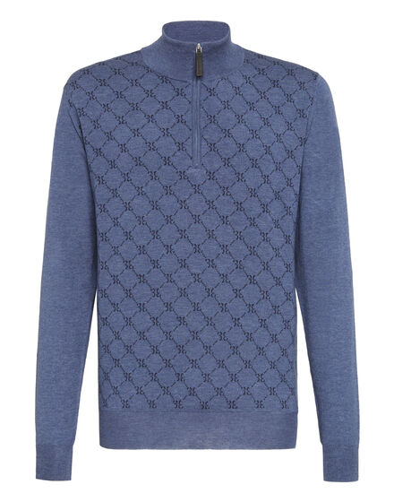 Pullover zip mock Jacquard All over BB