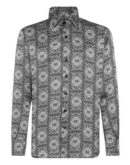 Silk Shirt Silver Cut LS/Flavio Floral Geometric
