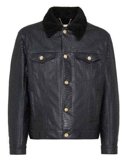 Leather Jacket with Python Luxury