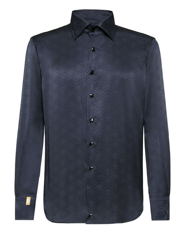 Silk Shirt Silver Cut LS/Flavio Lion