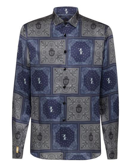Silk Shirt Gold Cut LS Geometric