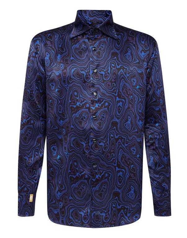Silk Shirt Silver Cut LS/Flavio Marbled