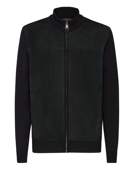 Merino wool Pullover full zip with suede Double B