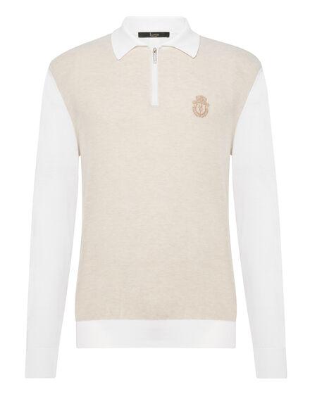 Pullover zip mock LS Crest