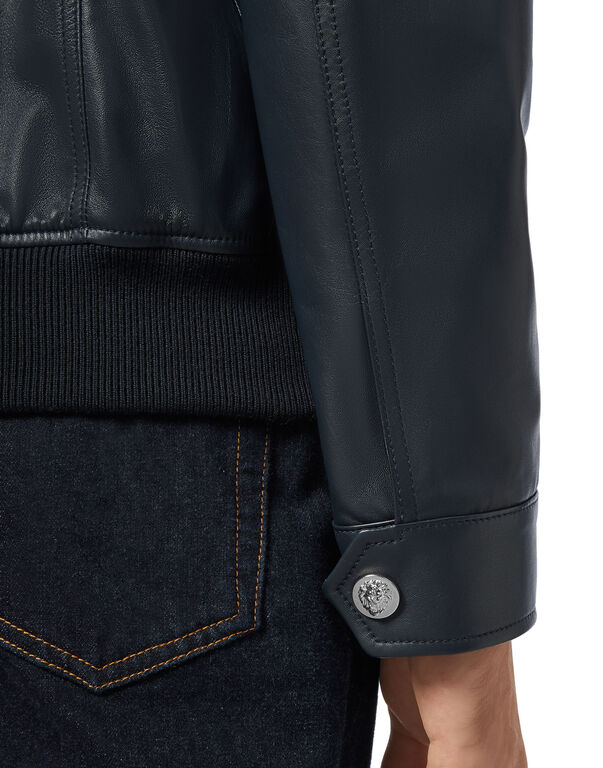 Leather Bomber Embossed Crest
