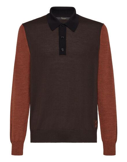 Merino wool Pullover Polo-Neck LS Color Block