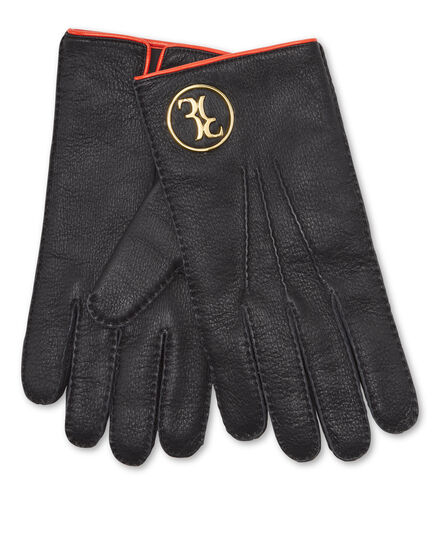 Mid-gloves in Leather and Cashmere Double B