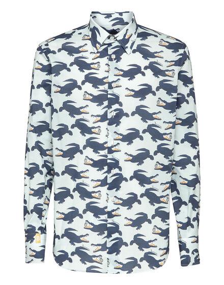 Shirt Silver Cut LS All over print Crocodile
