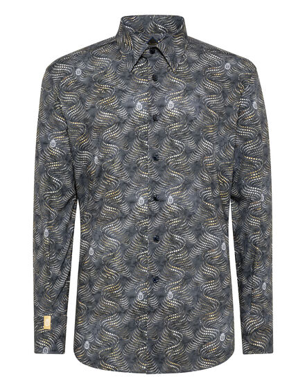 Shirt Silver Cut LS Milano/Multi Geometric