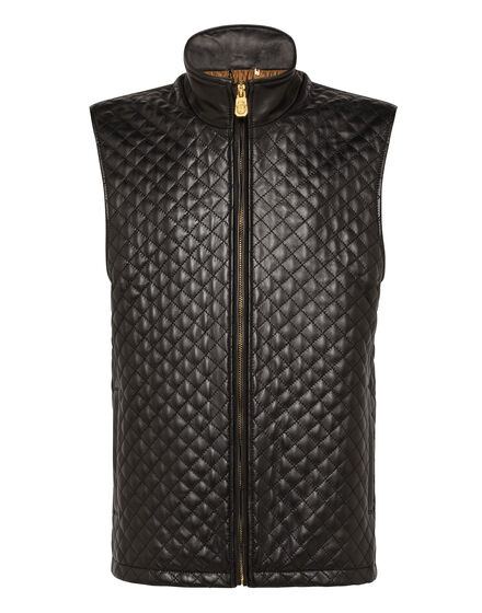 Leather Vest Short Crest