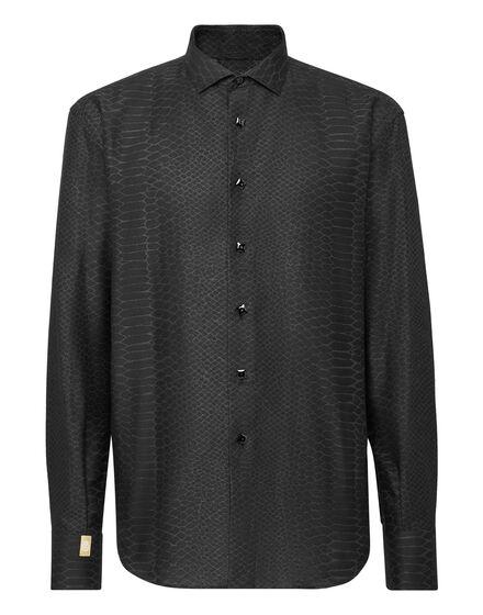 Silk Shirt Gold Cut LS Jacquard