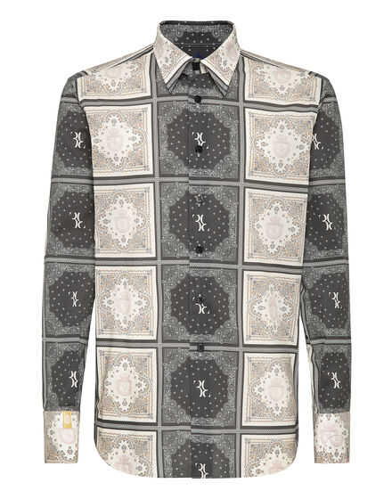 Shirt Silver Cut LS Geometric