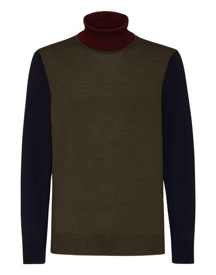 Merino wool Turtle Neck LS Color Block