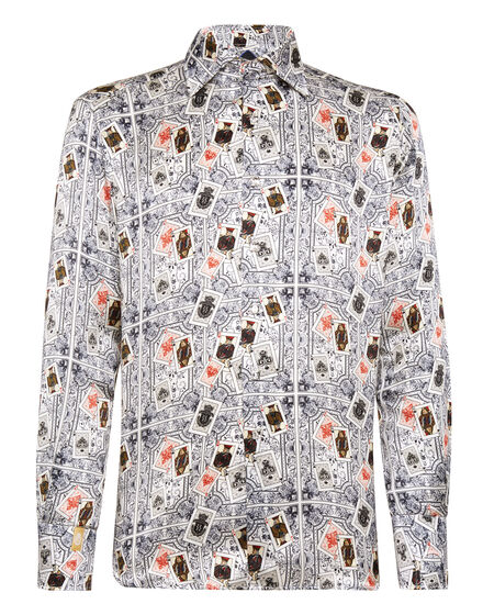 Silk Shirt Silver Cut LS/Flavio Casinò