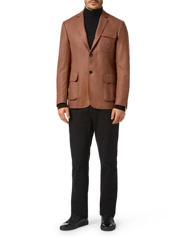 Wool Cashmere Blazer Tailored Fit Crest