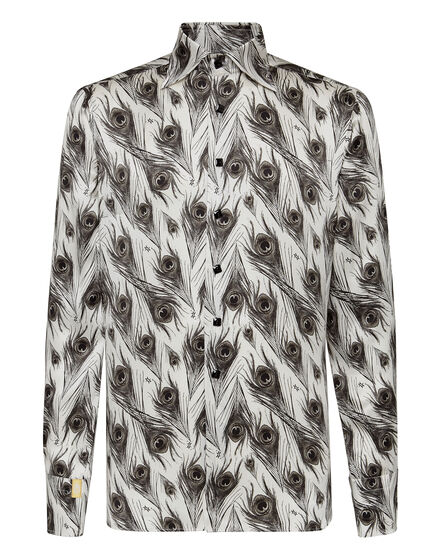 Silk Shirt Silver Cut LS/Flavio Feathers