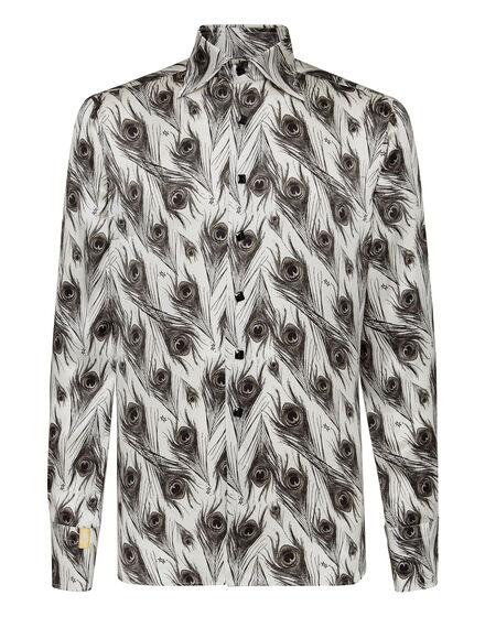 Silk Shirt Silver Cut LS/Flavio Feathers