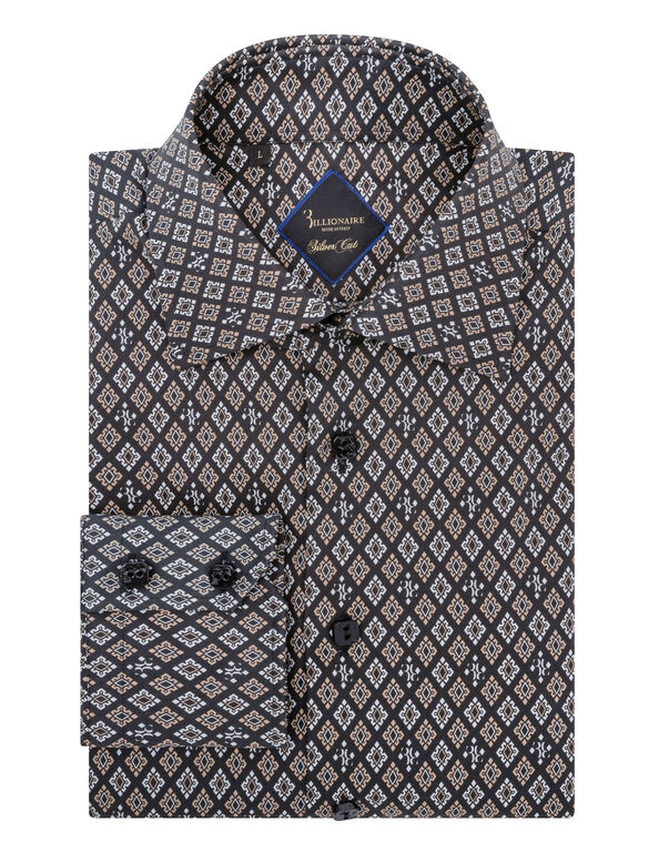 Shirt Silver Cut LS/Flavio Geometric