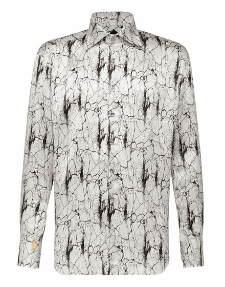 Silk Shirt Silver Cut LS/Flavio Marbled